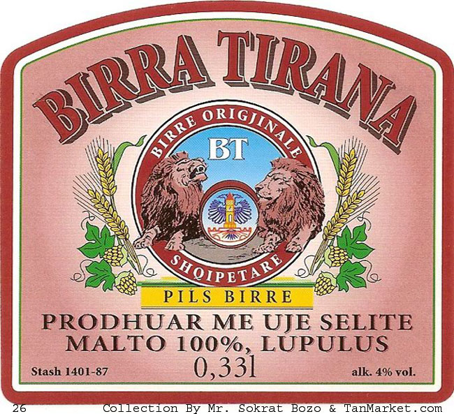 Tirana Beer  This Label Is Used To Export In USA
